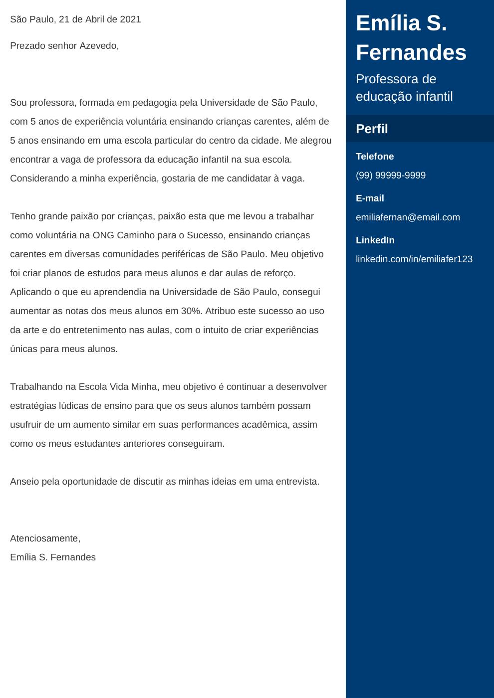Exemplo de carta de apresentacao: Enfold