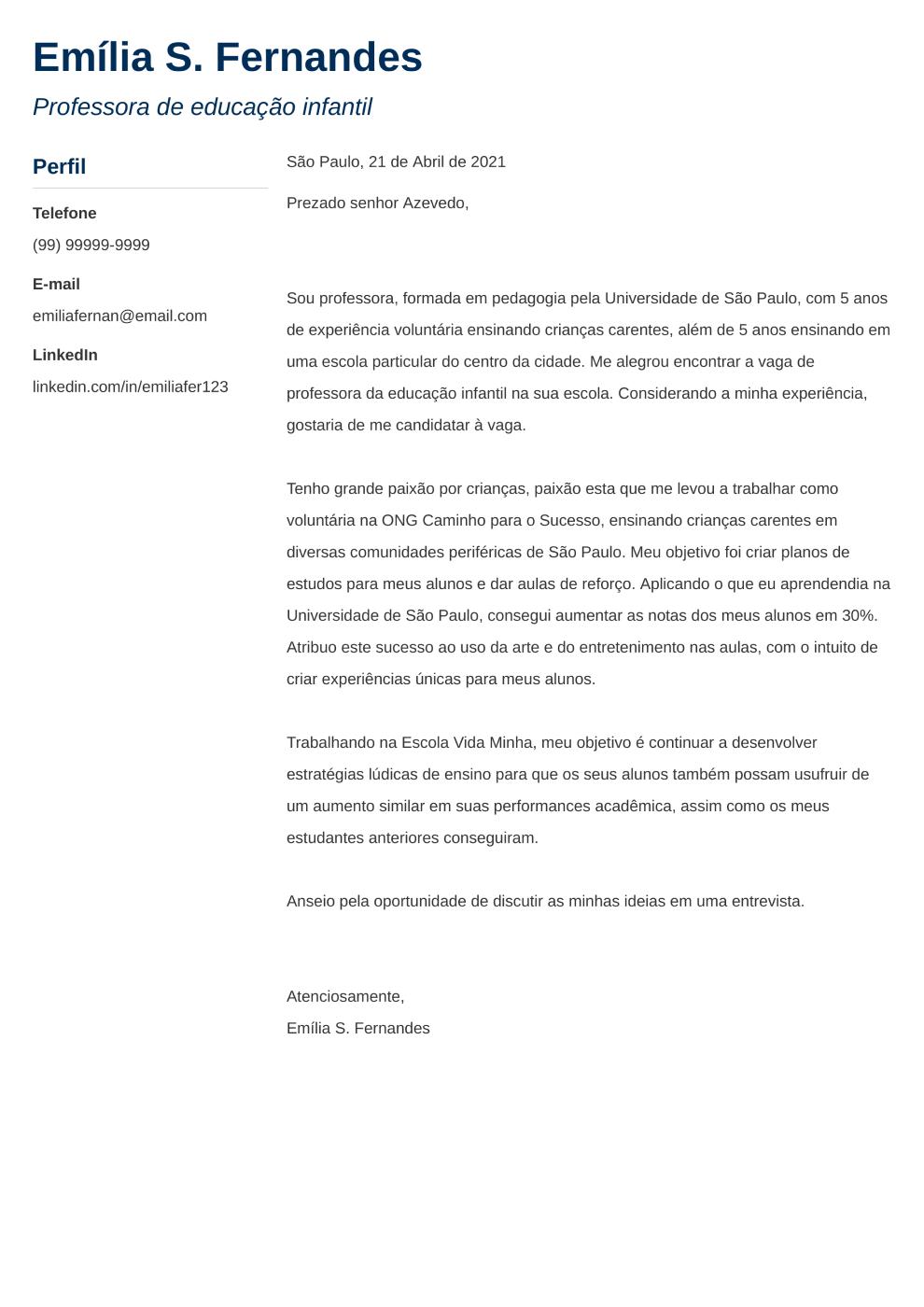 Exemplo de carta de apresentacao: Muse