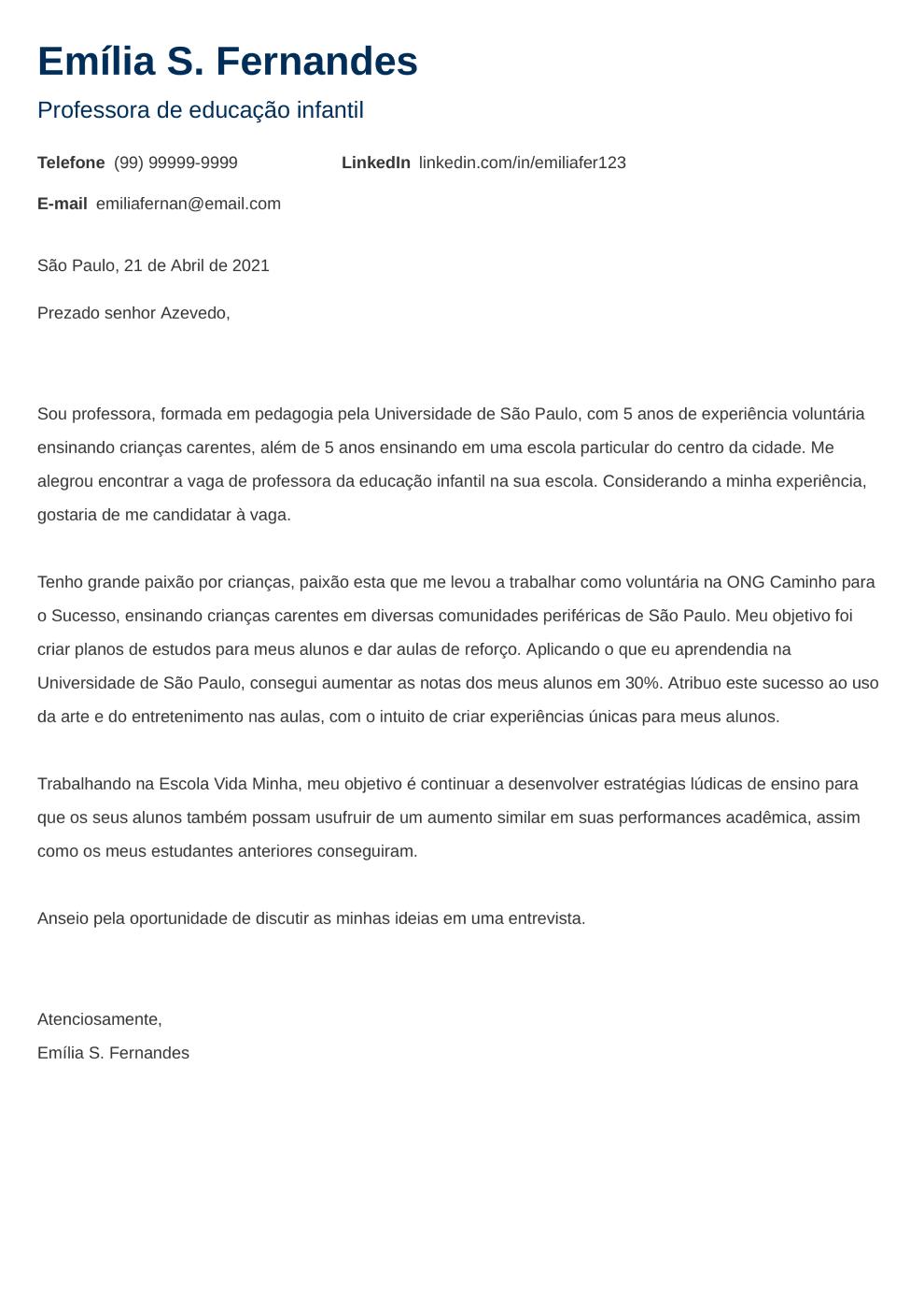 Exemplo de carta de apresentacao: Newcast