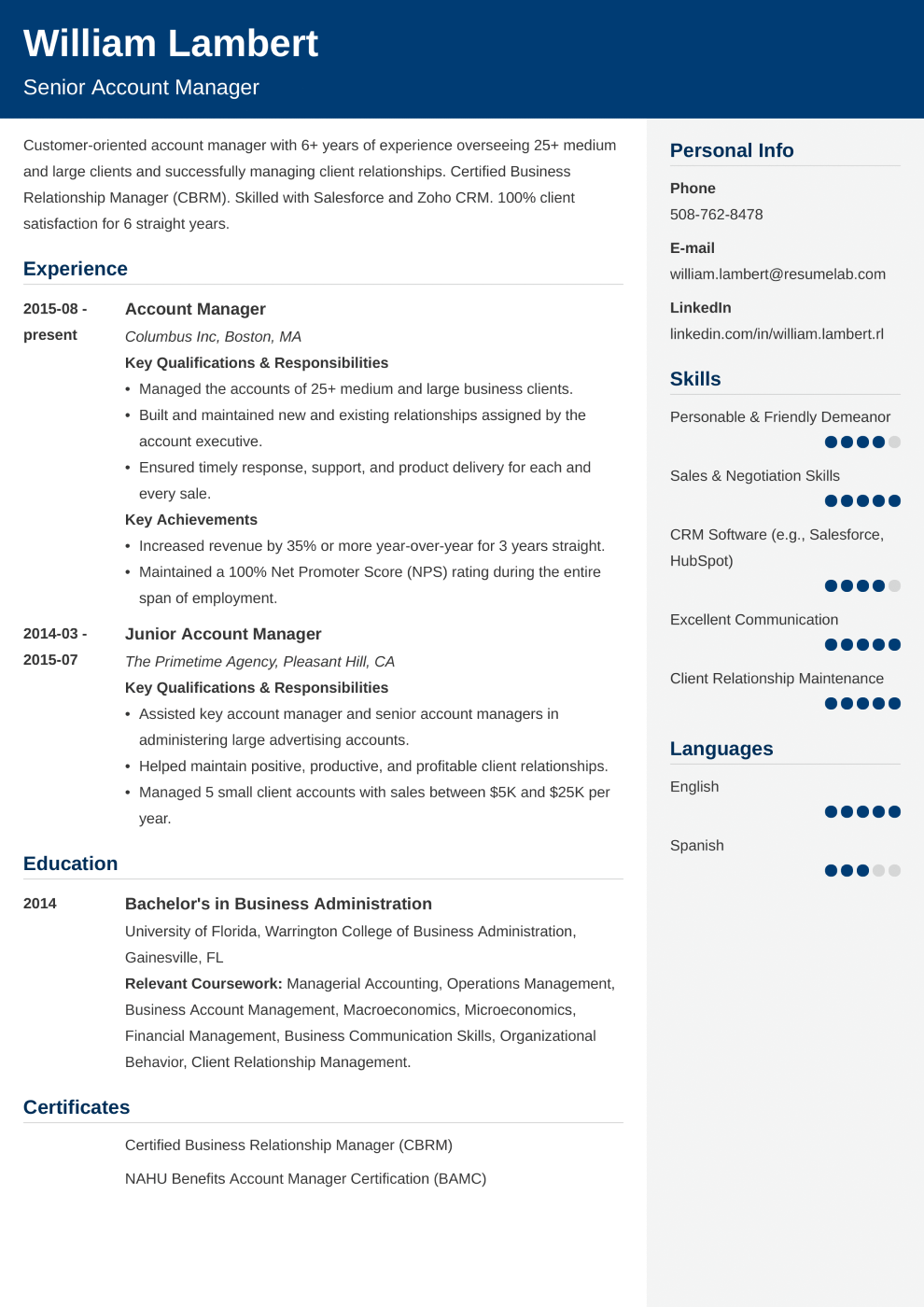 Resume Template Cubic
