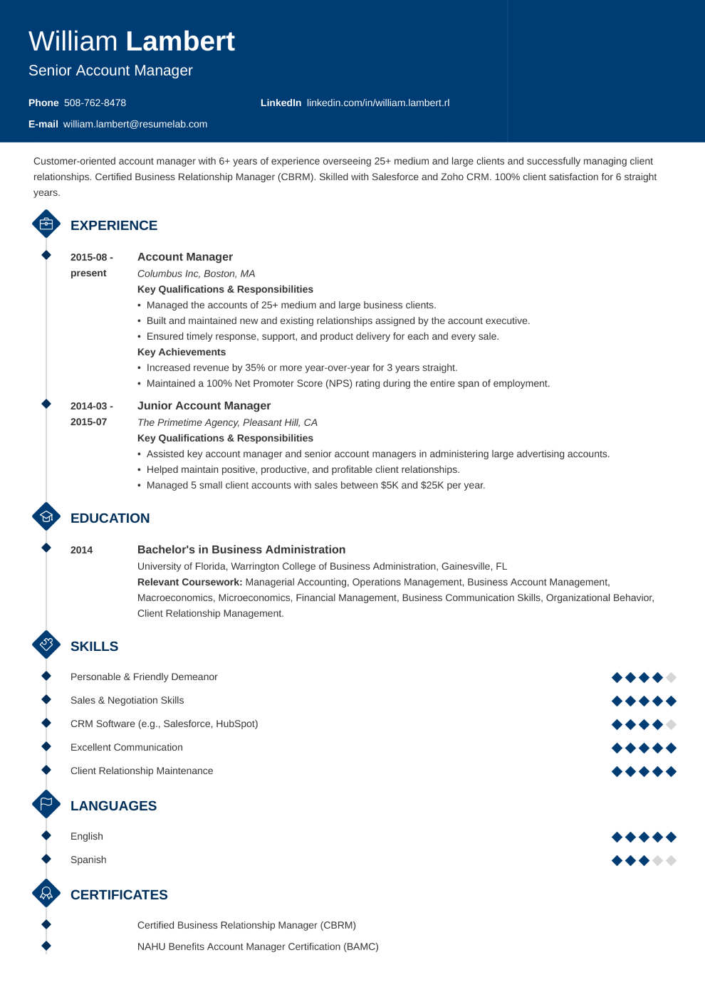 Resume Template Diamond
