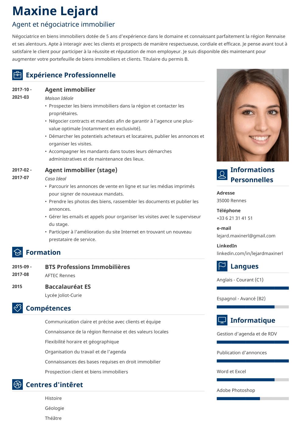 Exemple de CV Vibes