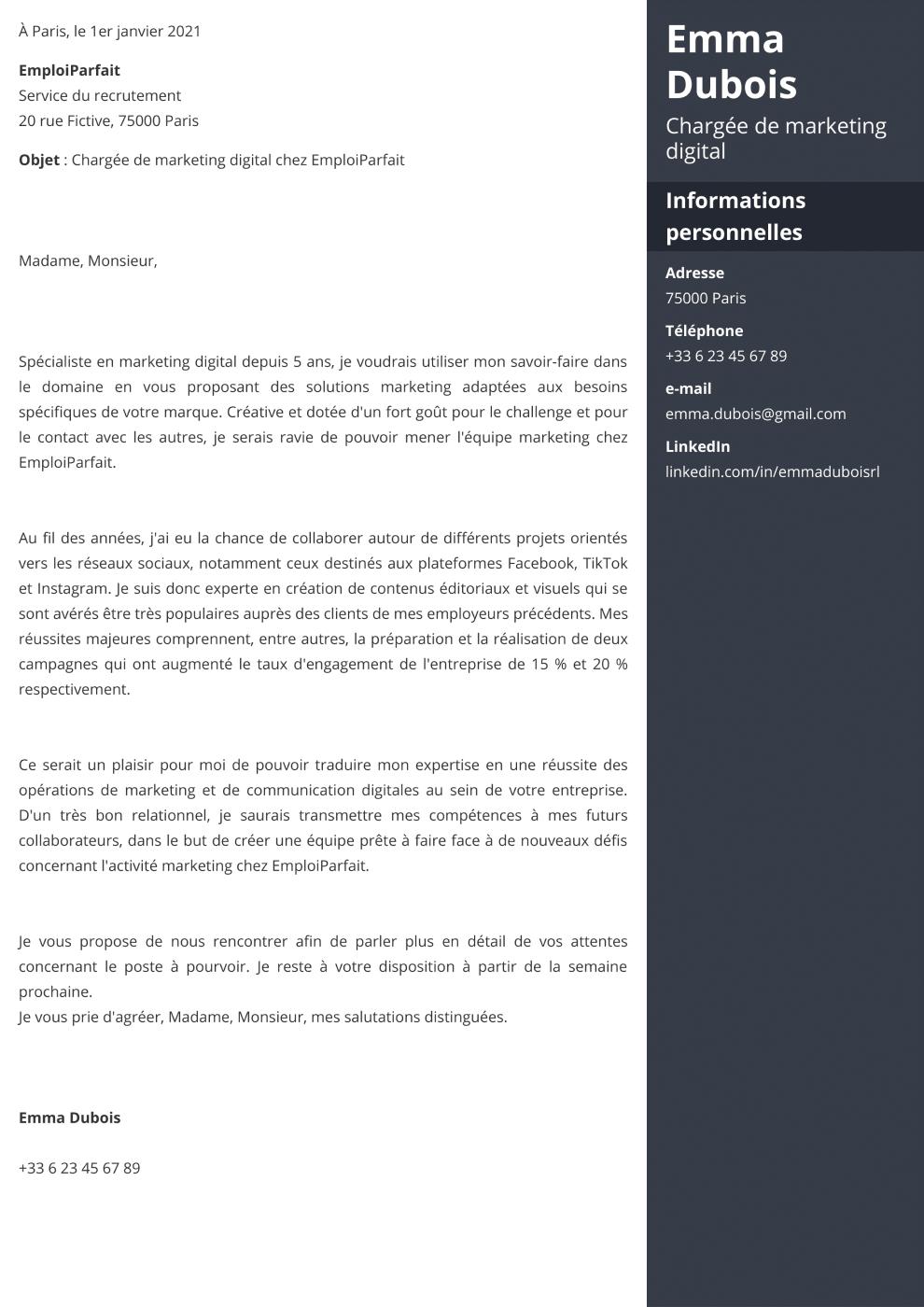 Modèle de lettre de motivation Enfold