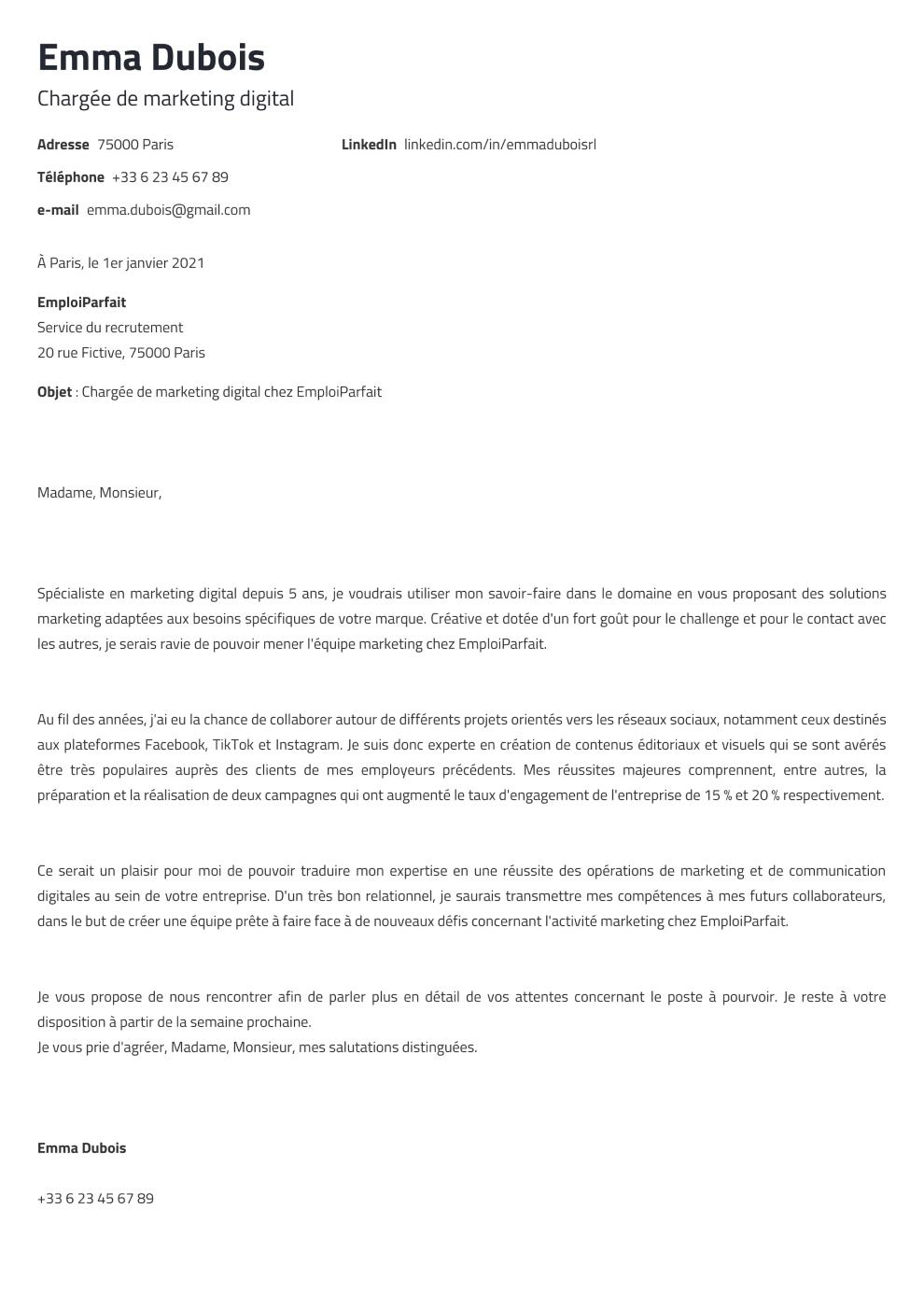 Modèle de lettre de motivation Newcast