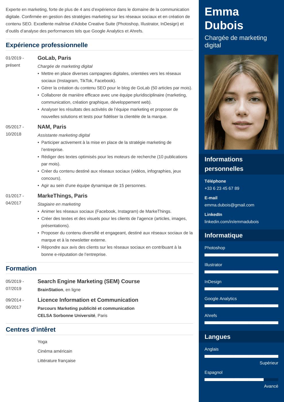 Modèle CV Enfold