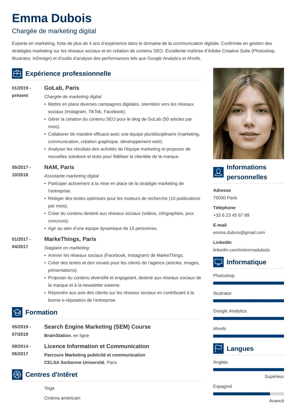 Modèle CV Vibes