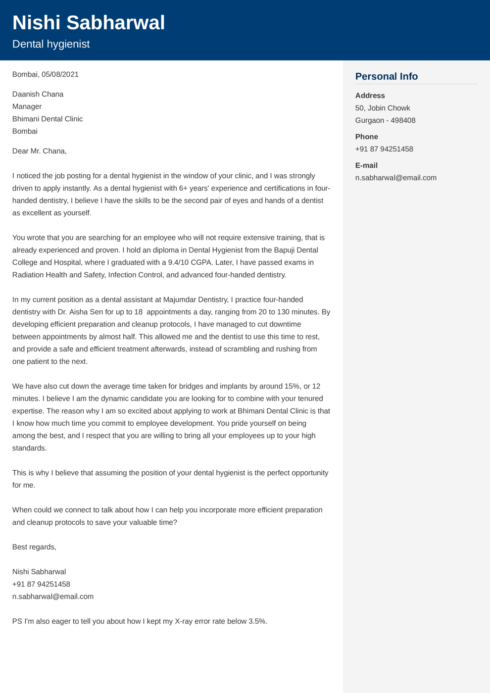 Cubic Indian Cover Letter Template