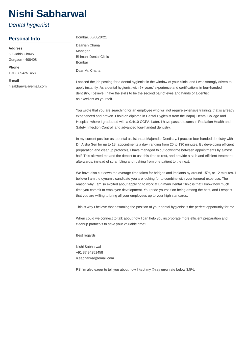 Muse Indian Cover Letter Template