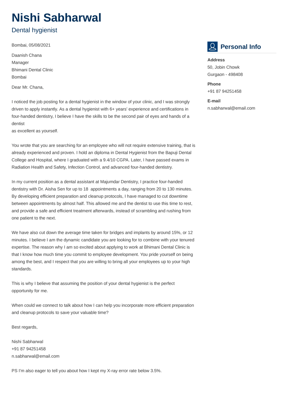 Vibes Indian Cover Letter Template