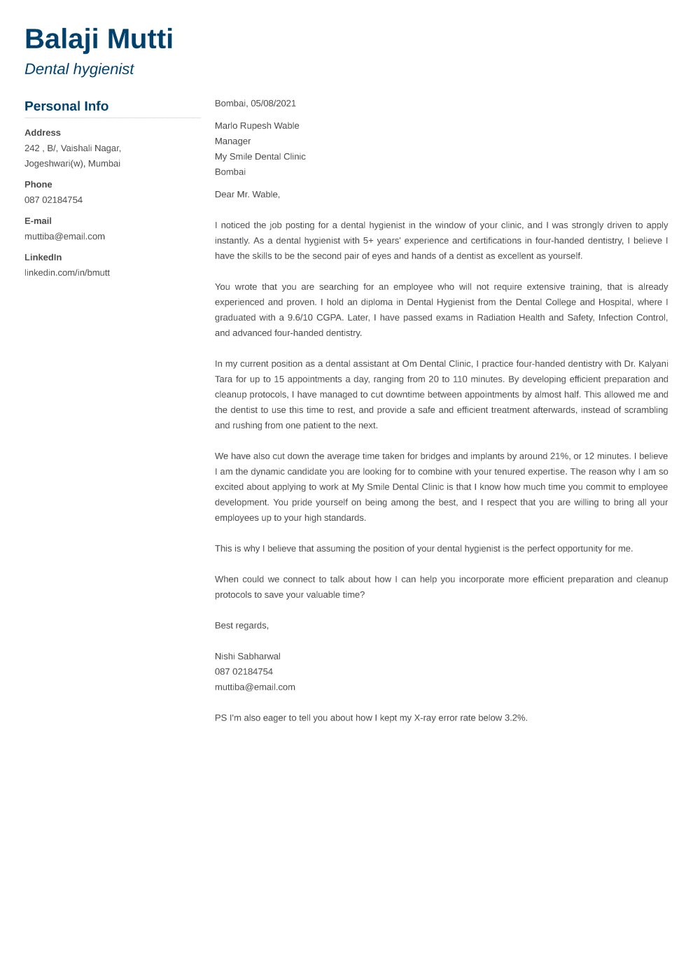 Muse Cover Letter Format