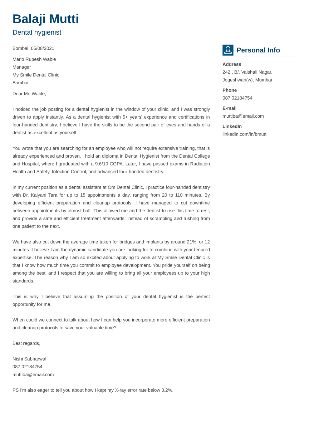 Vibes Cover Letter Format