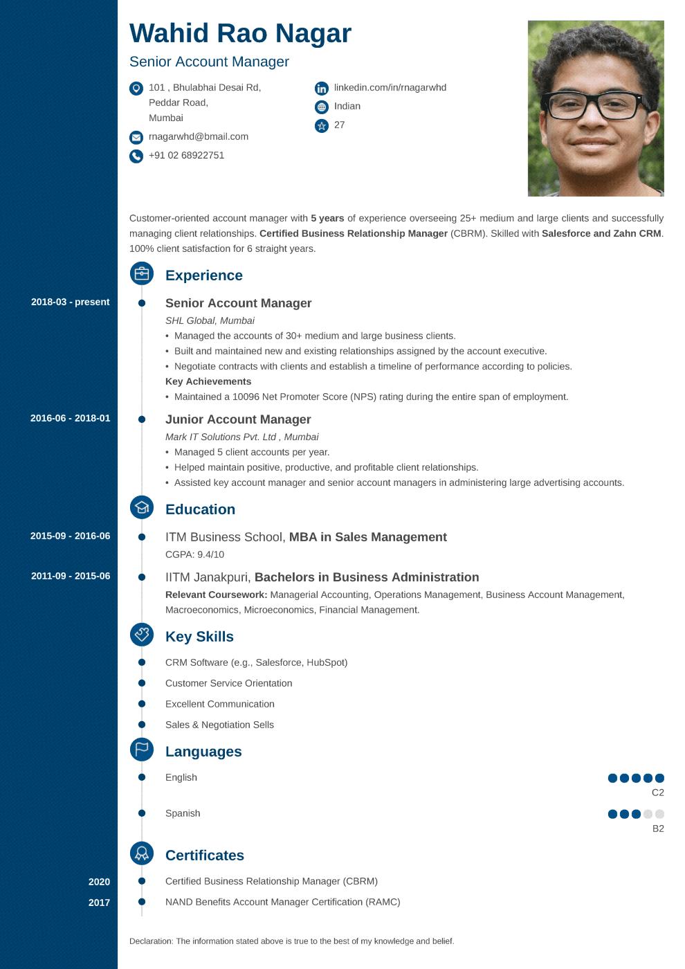 Concept Indian CV Format made with ResumeLab CV maker