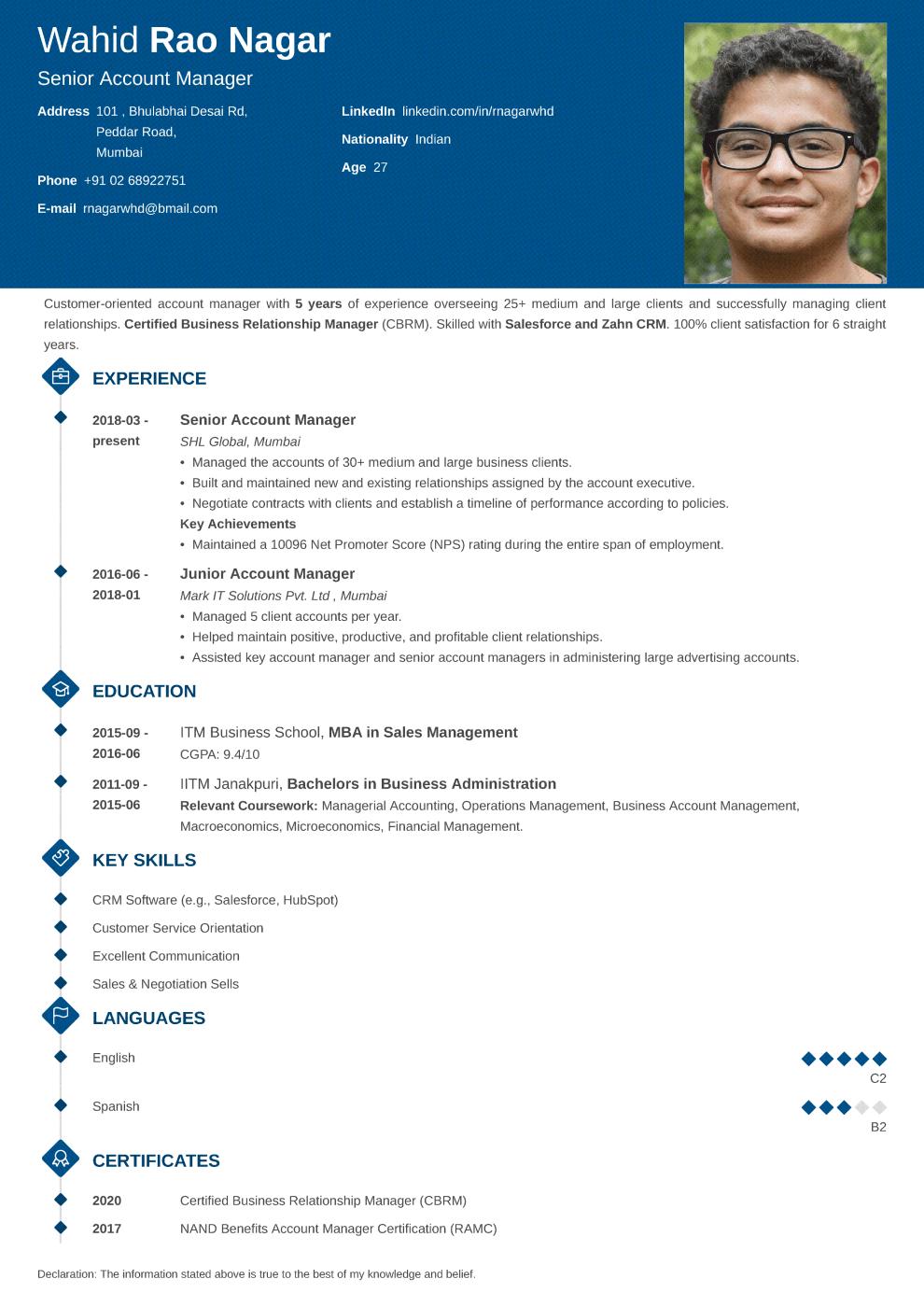 Diamond Indian CV Format made with ResumeLab CV maker