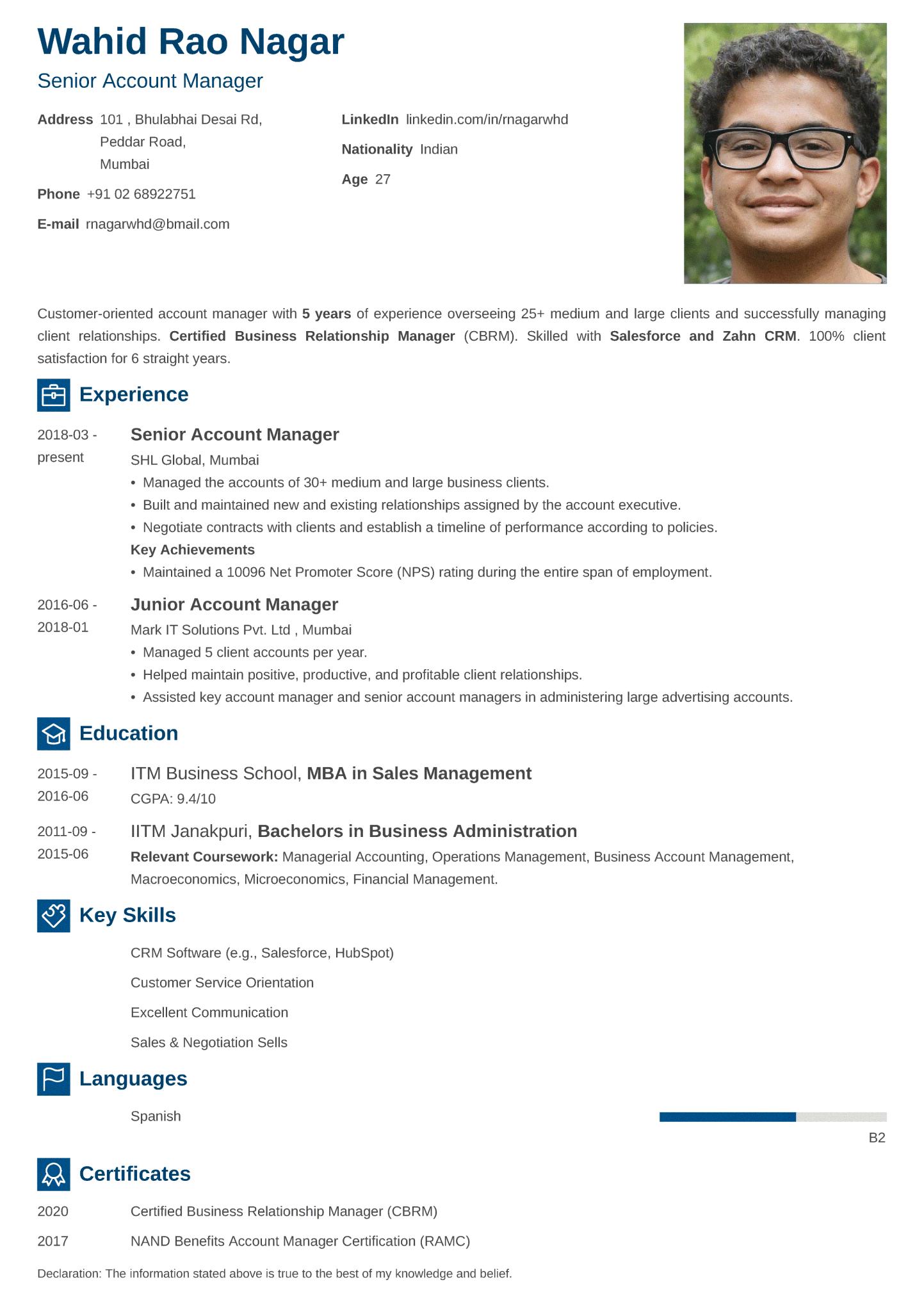 Newcast Indian CV Format made with ResumeLab CV maker