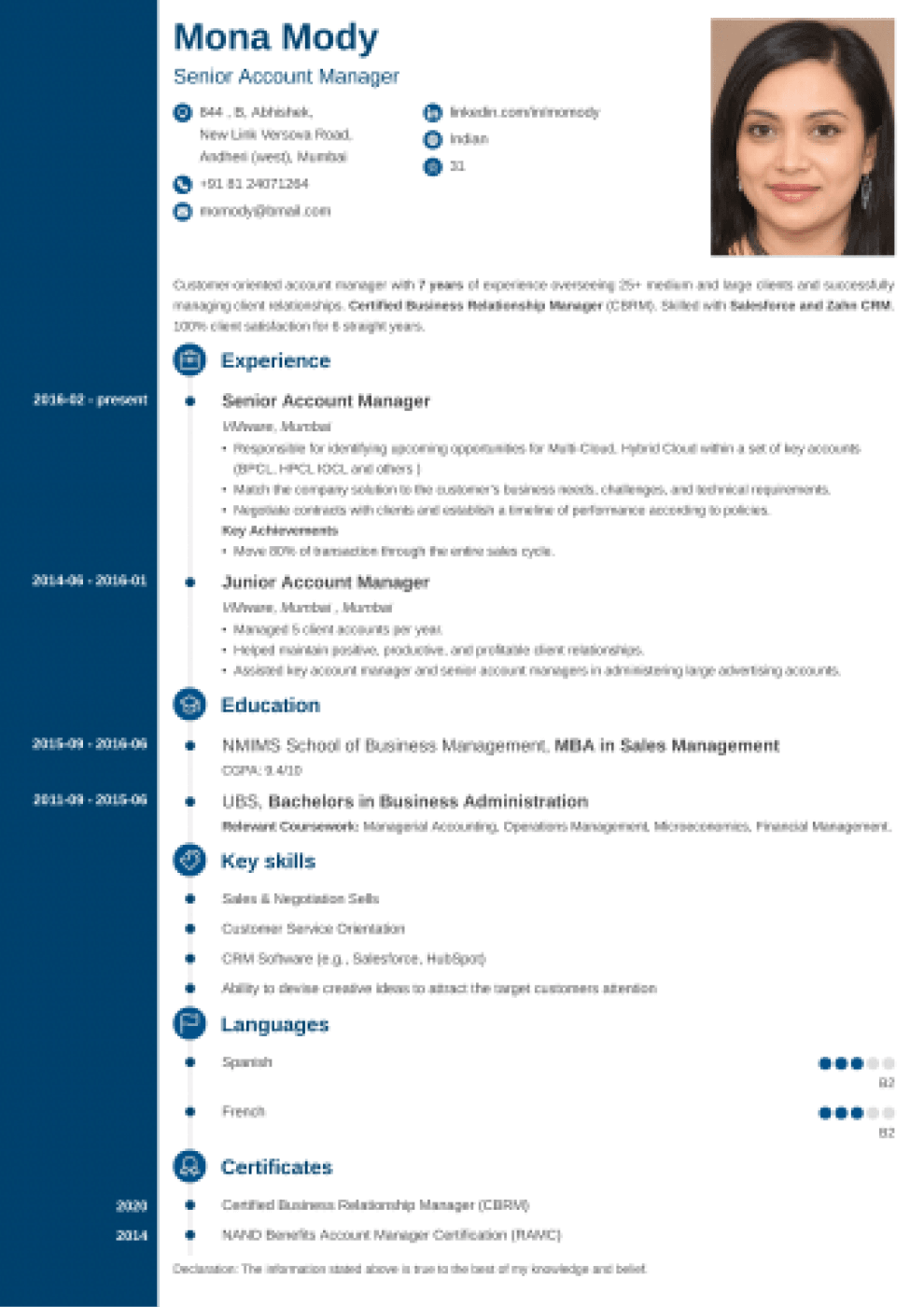 Concept Indian CV Format