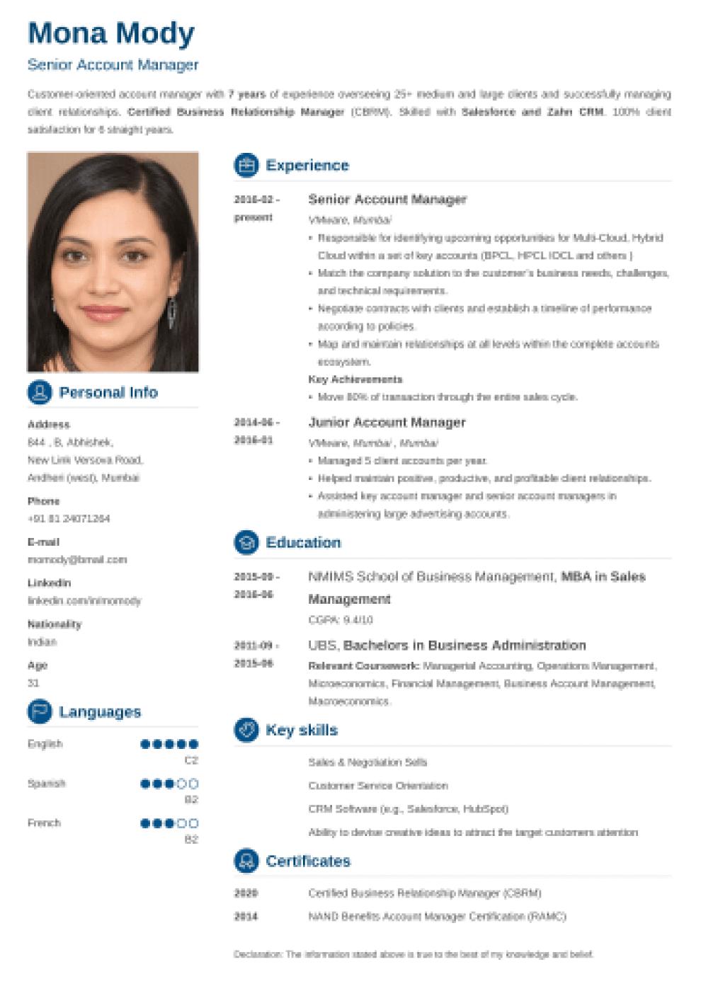 Crisp Indian CV Format