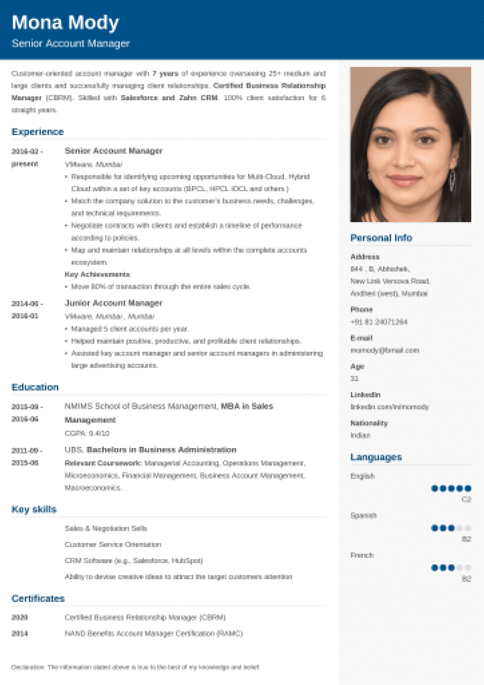 Cubic Indian CV Format