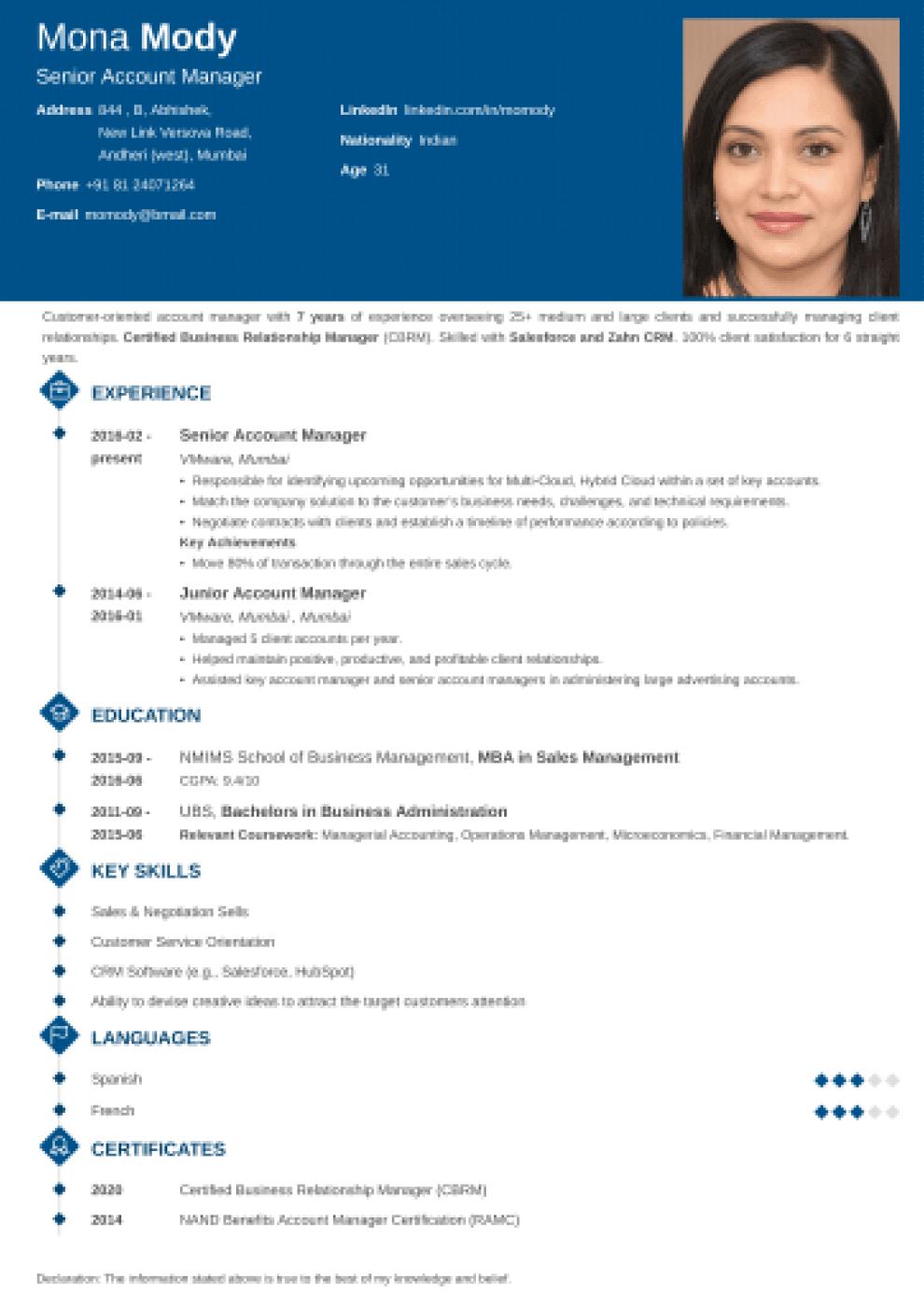 Diamond Indian CV Format