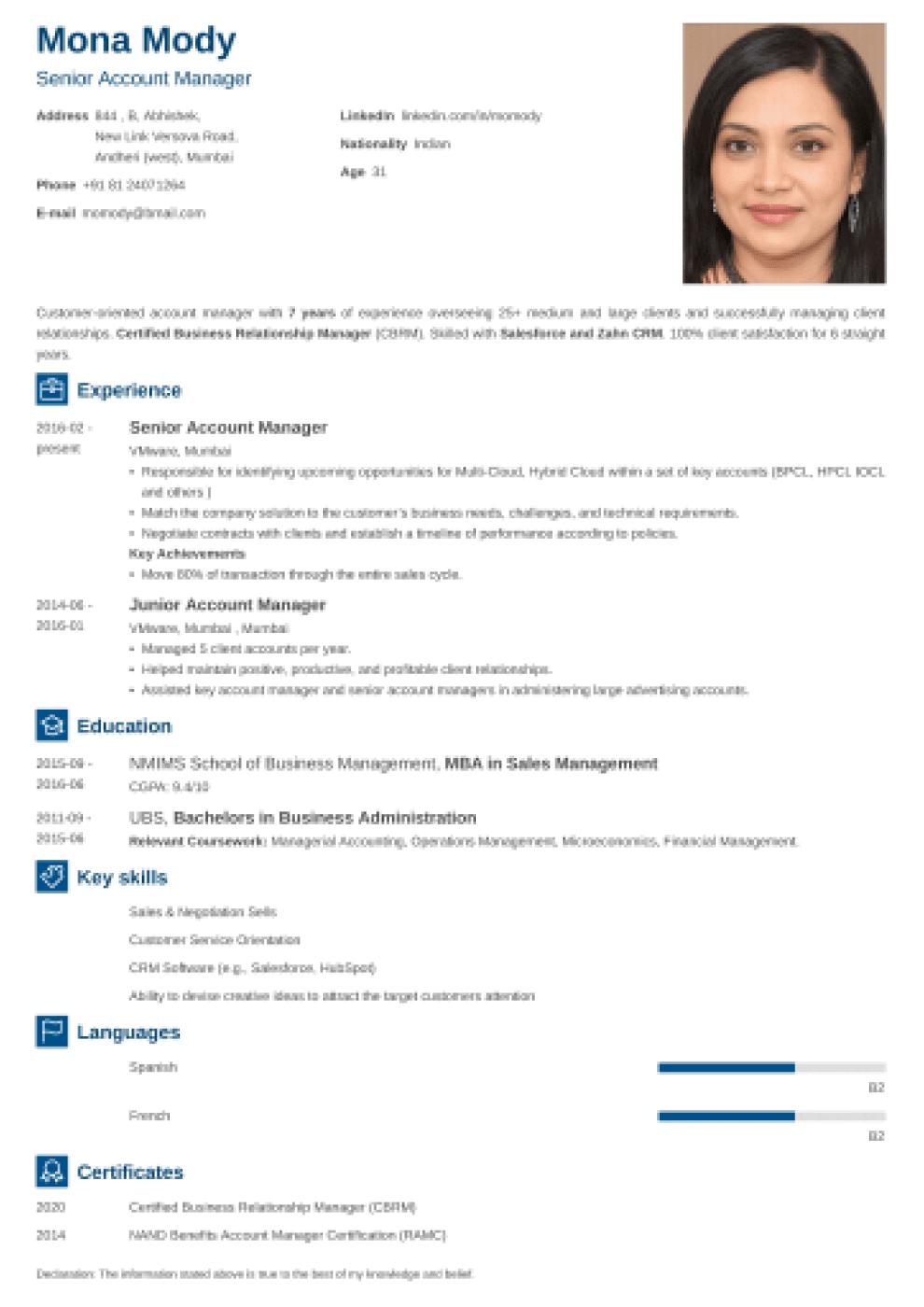 Newcast Indian CV Format