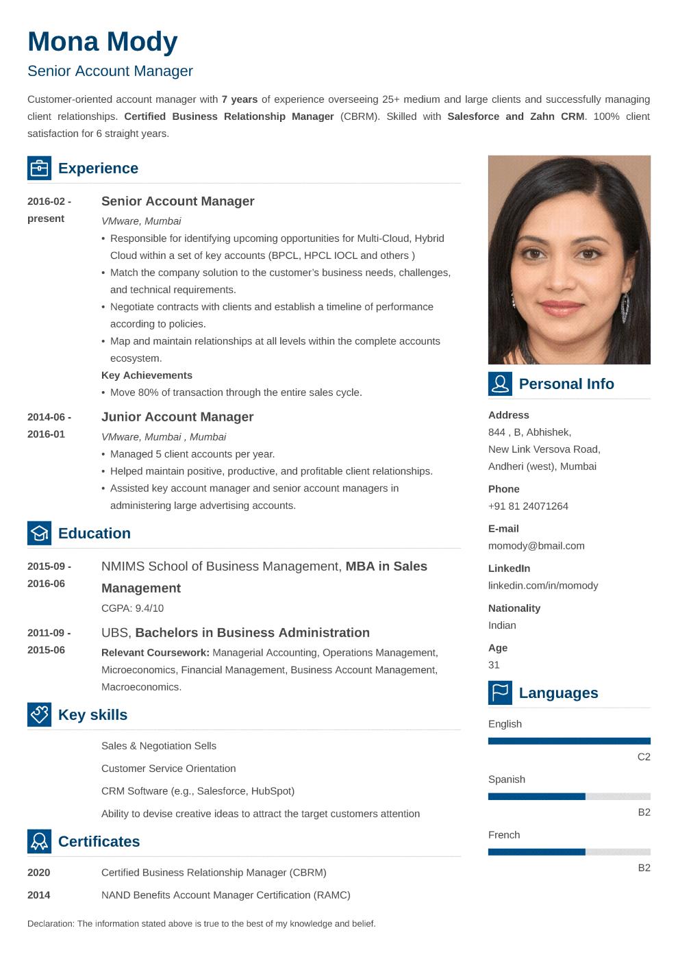 Vibes Indian CV Format