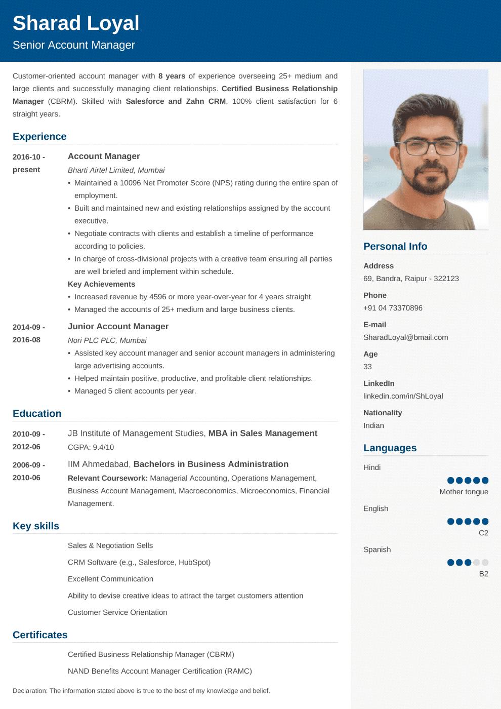 Cubic Indian CV Template