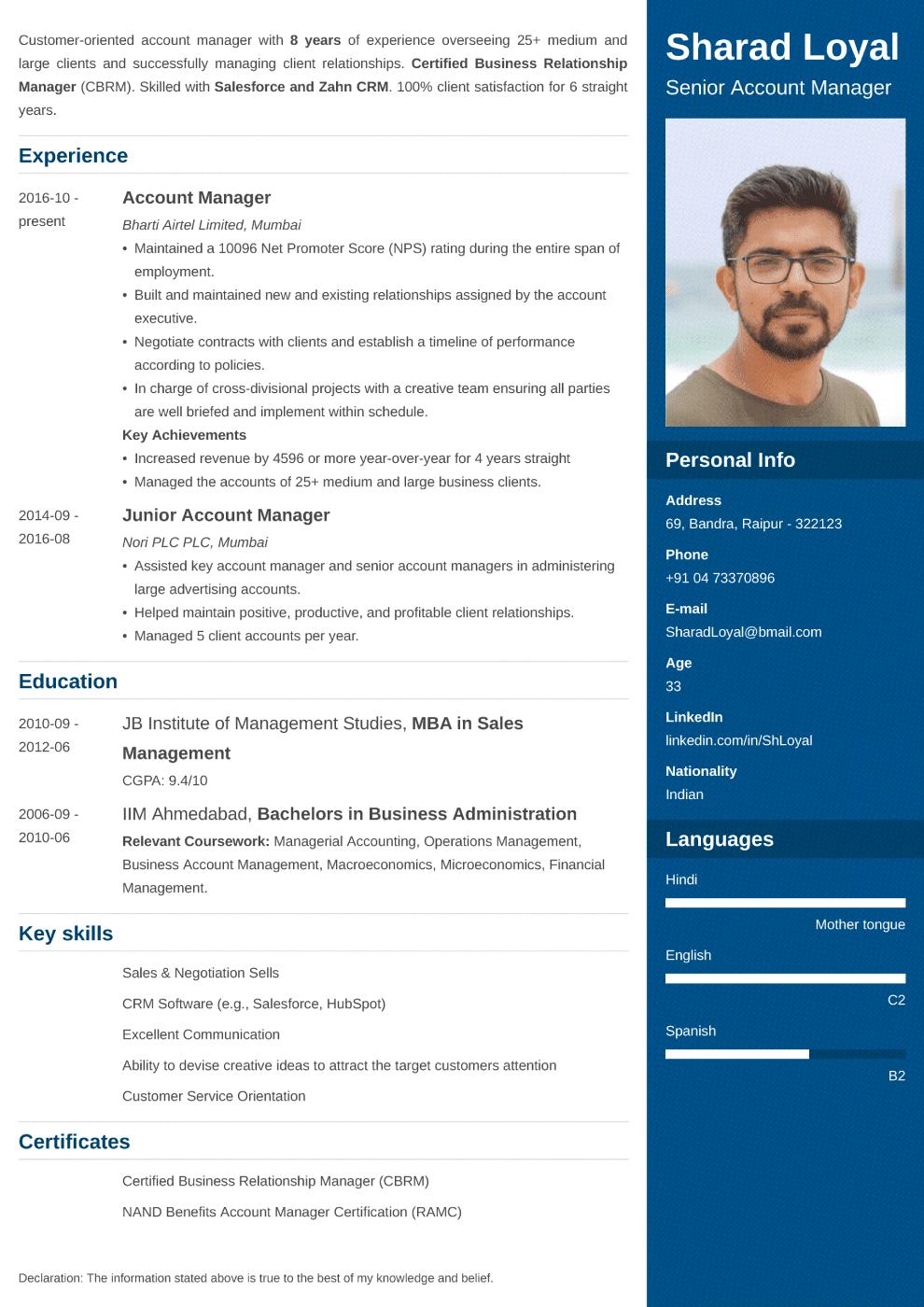 Enfold Indian CV Template