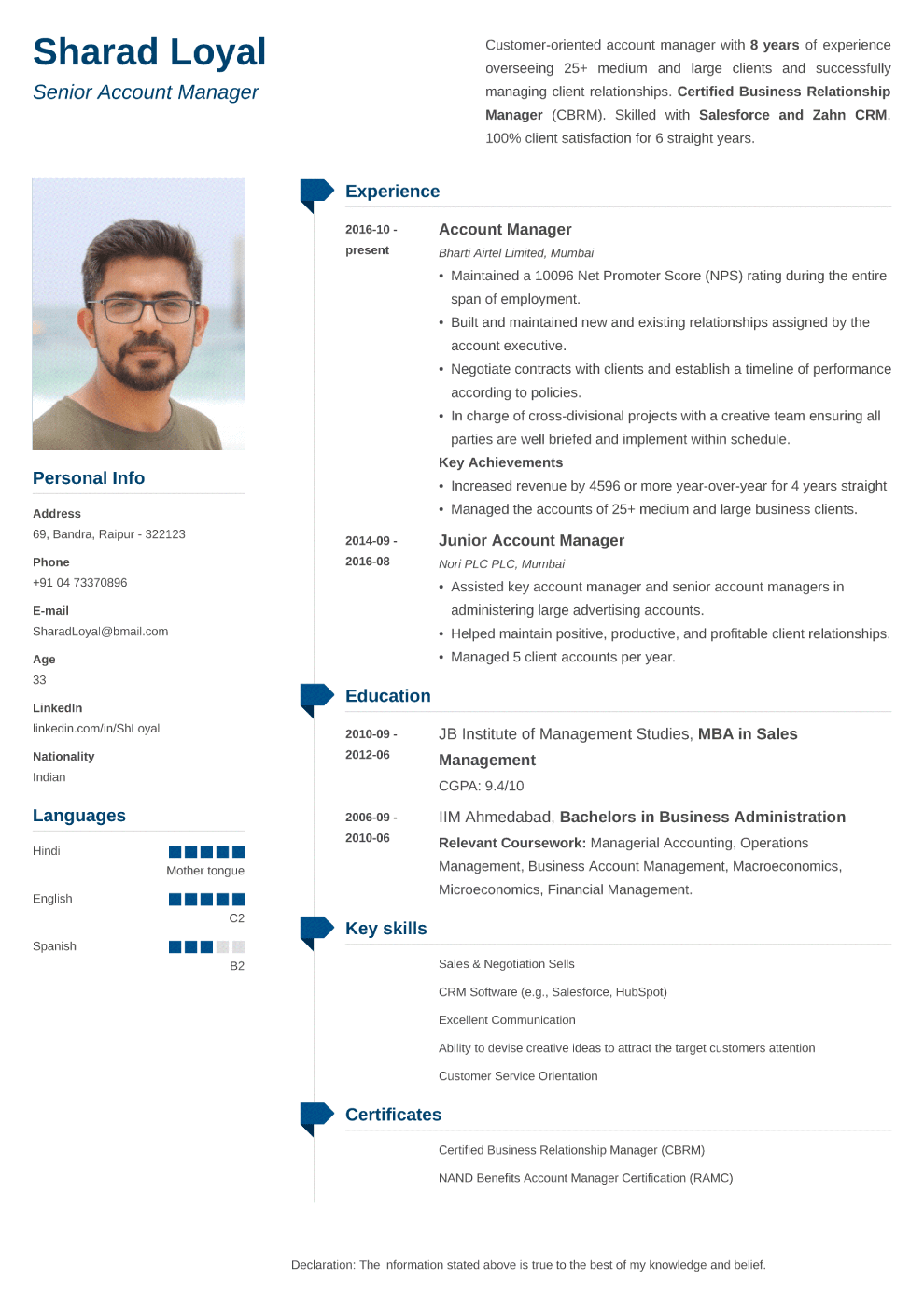Muse Indian CV Template