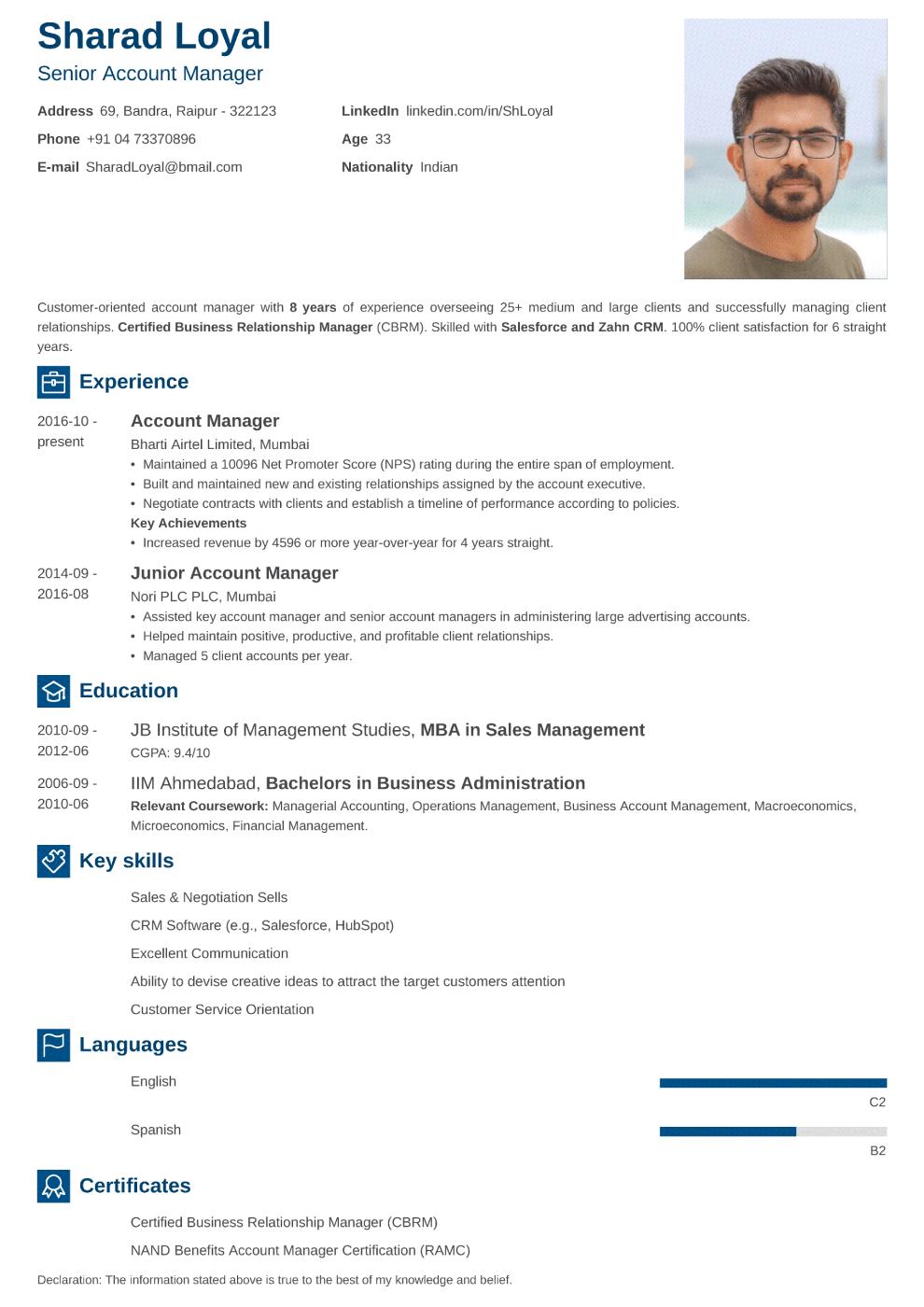 Newcast Indian CV Template