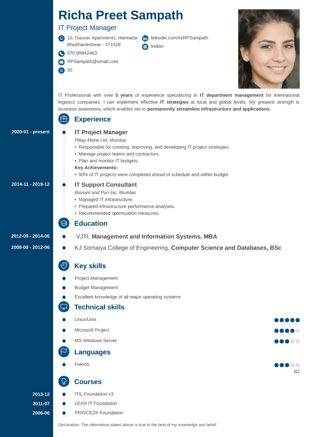 Concept resume template — India