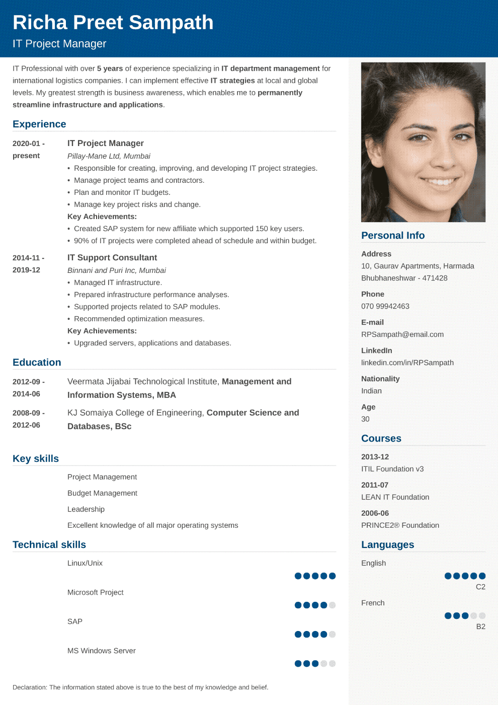 Cubic resume template — India