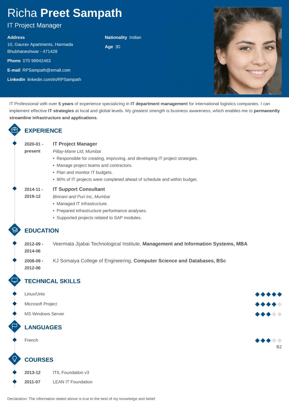 Diamond resume template — India