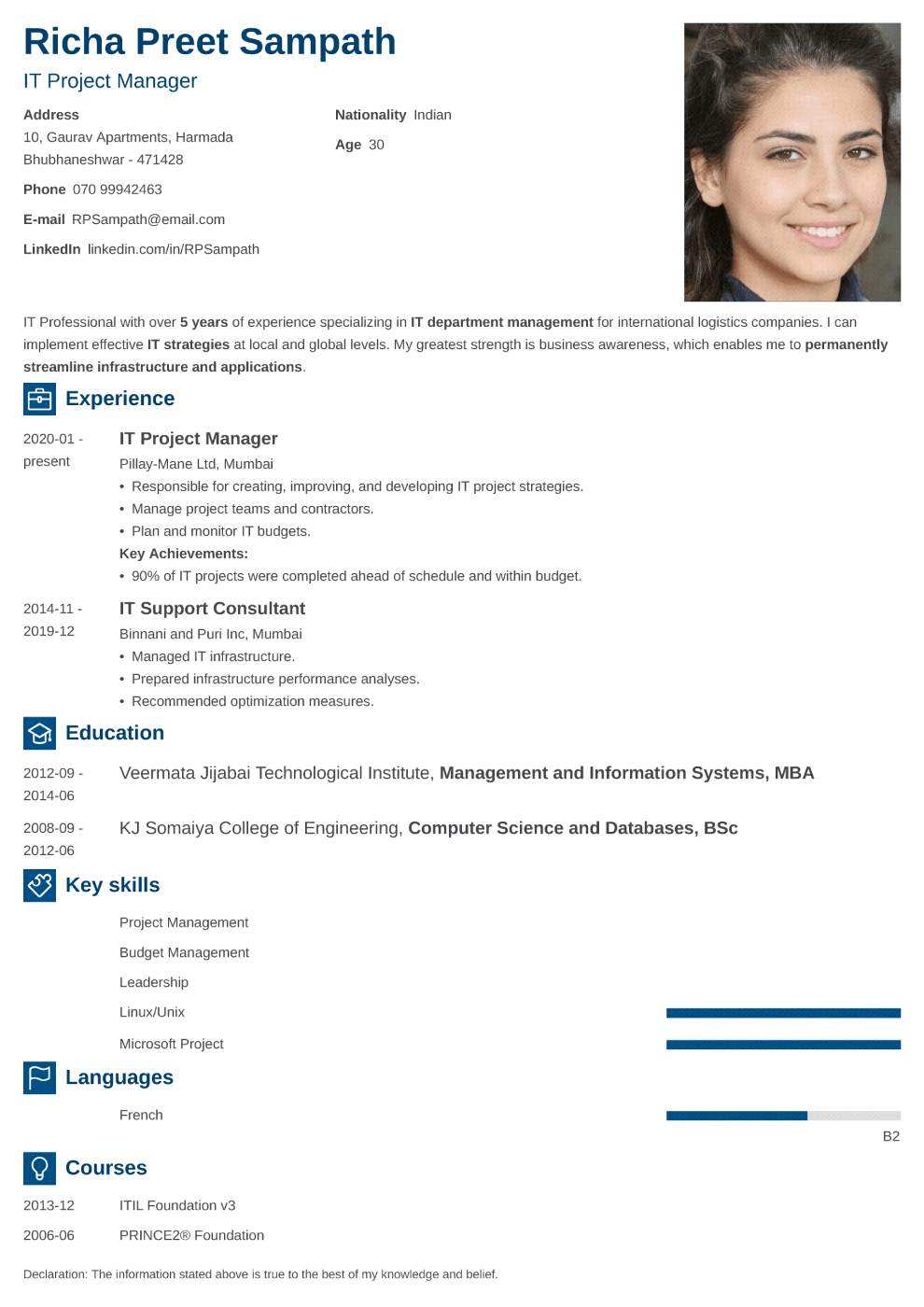 Enfold resume template — India