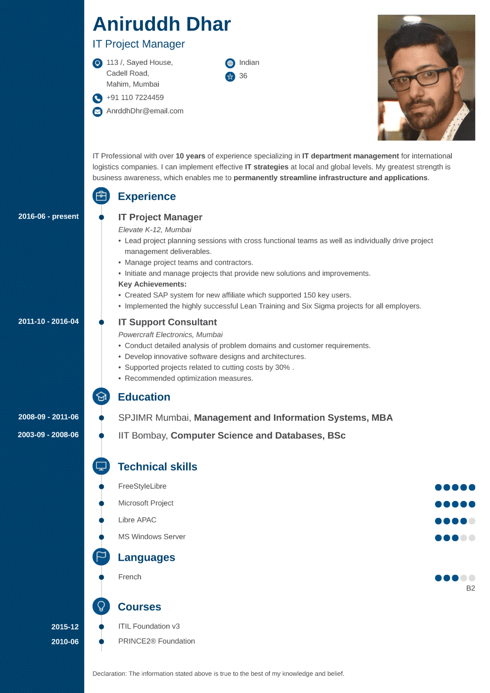 Indian resume sample made with concept format