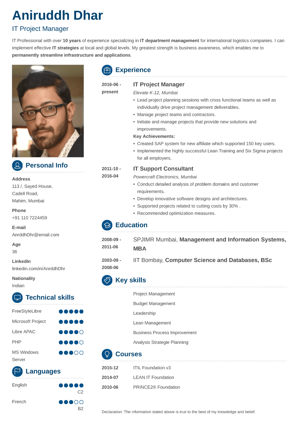 Indian resume sample made with crisp format