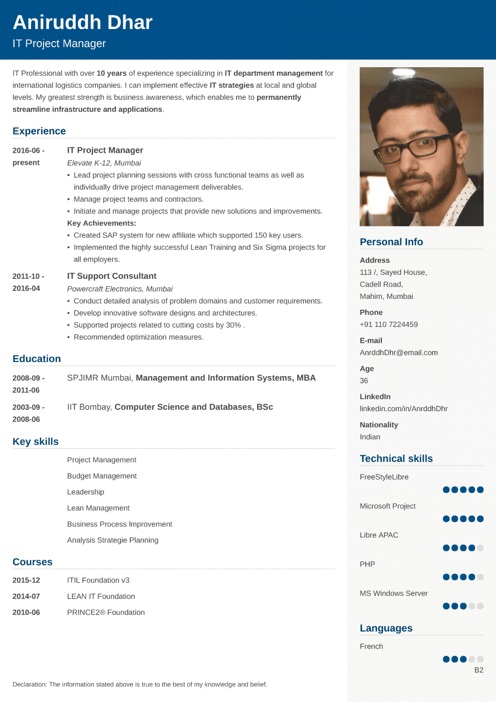 Indian resume sample made with Cubic format