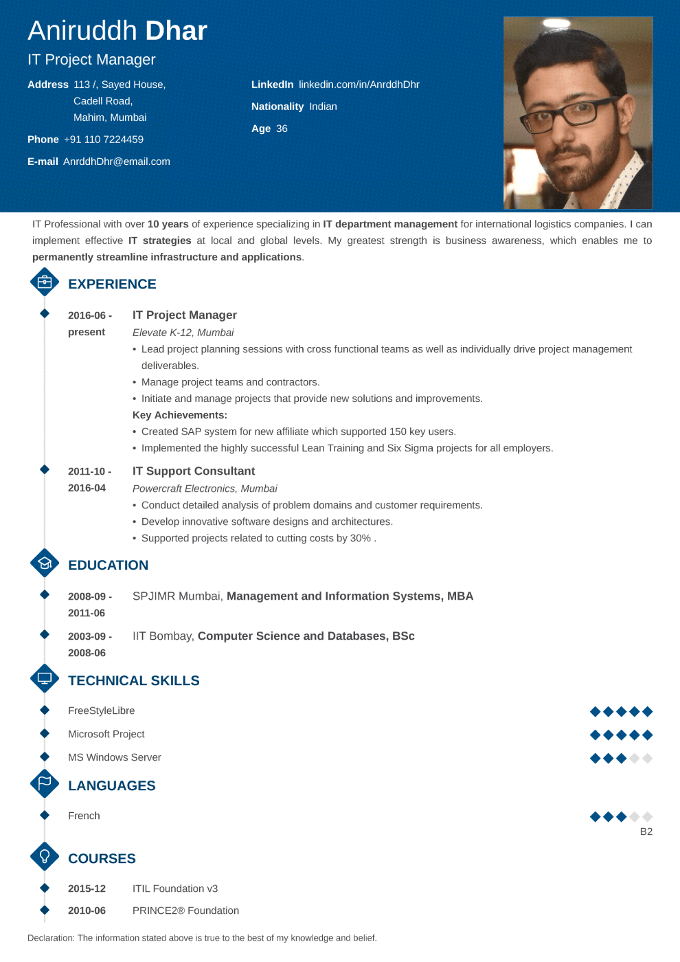 Indian resume sample made with diamond format