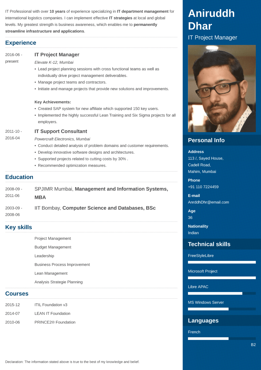 Indian resume sample made with enfold format