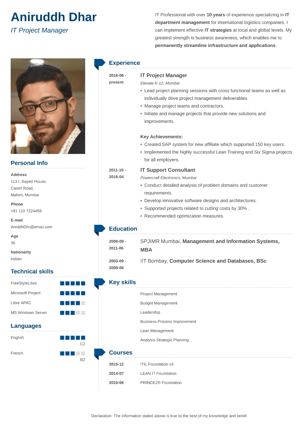 Indian resume sample made with muse format