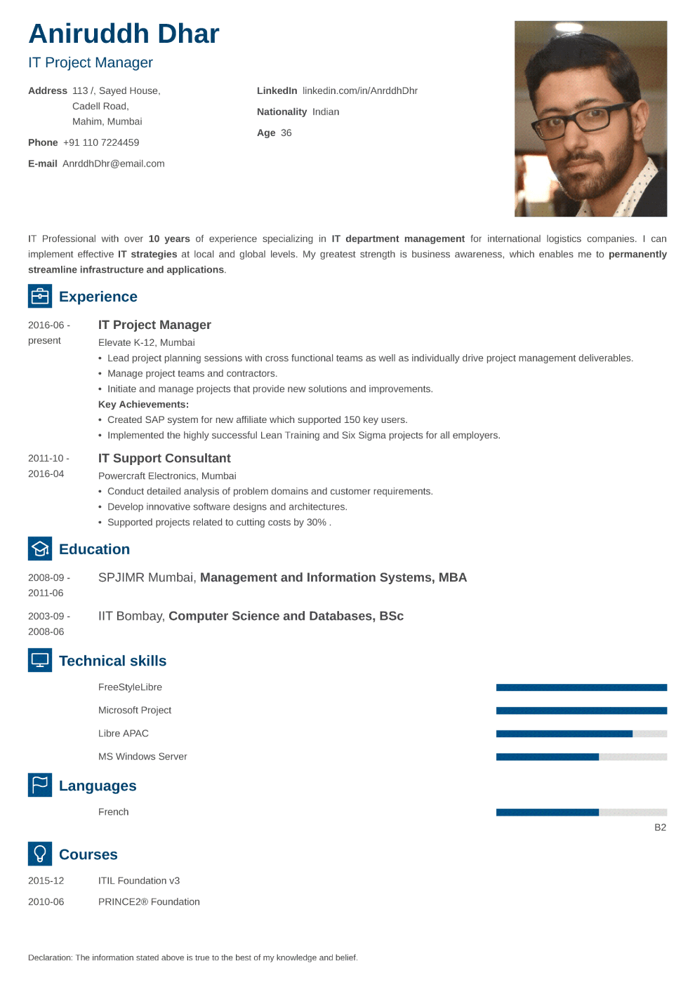Indian resume sample made with newcast format