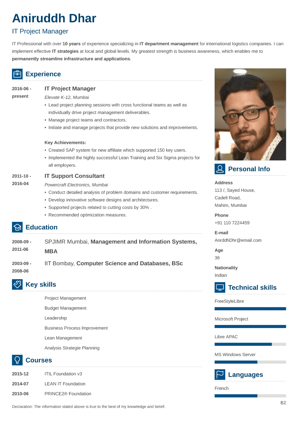 Indian resume sample made with vibes format
