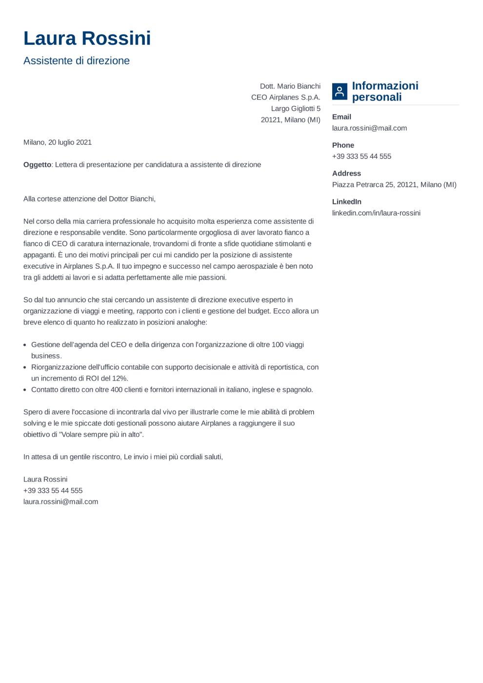 Modello di lettera di presentazione Newcast