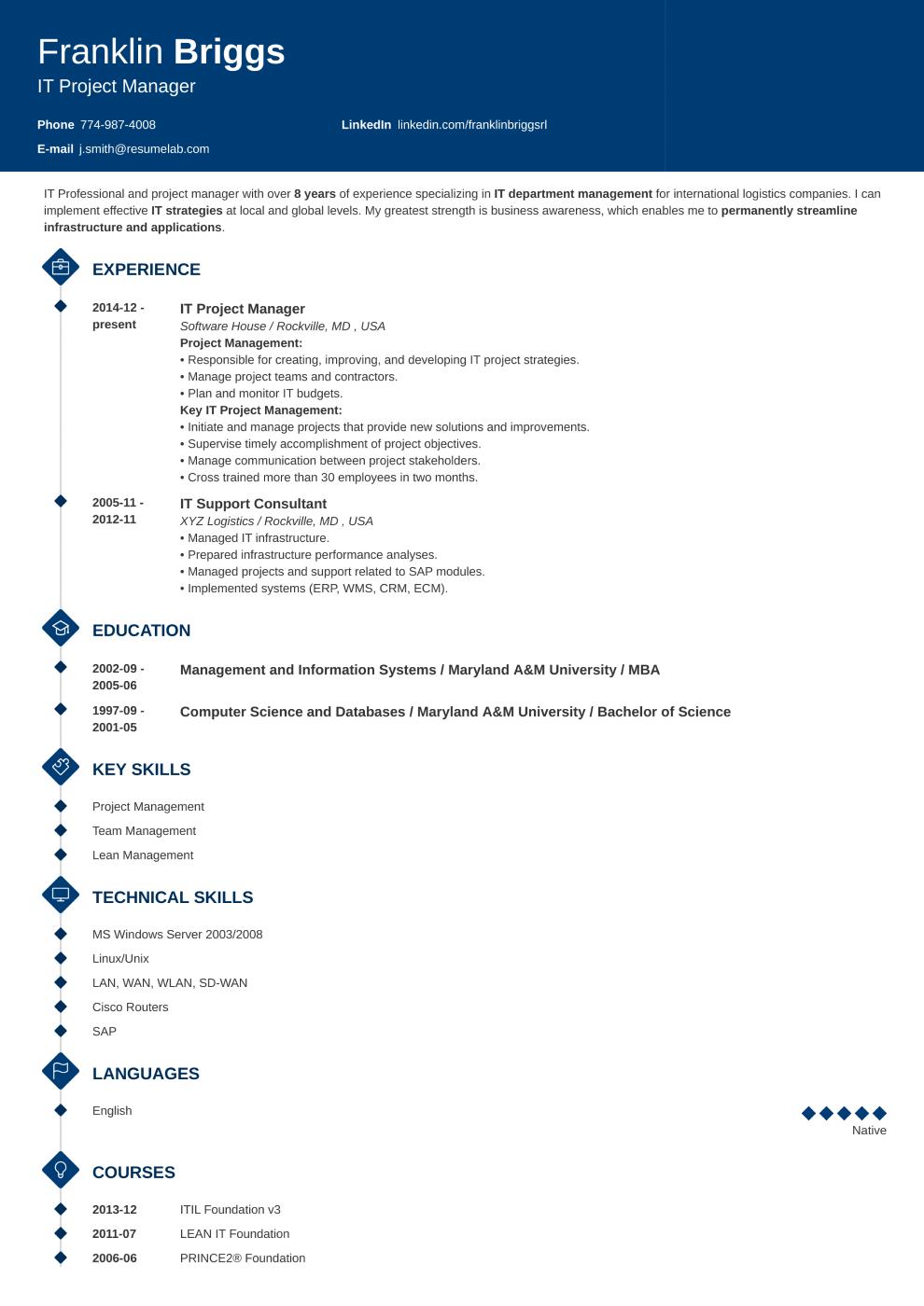 Diamond resume template