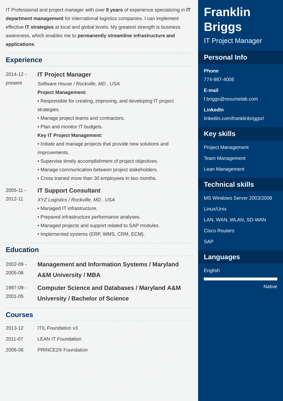 Enfold resume template