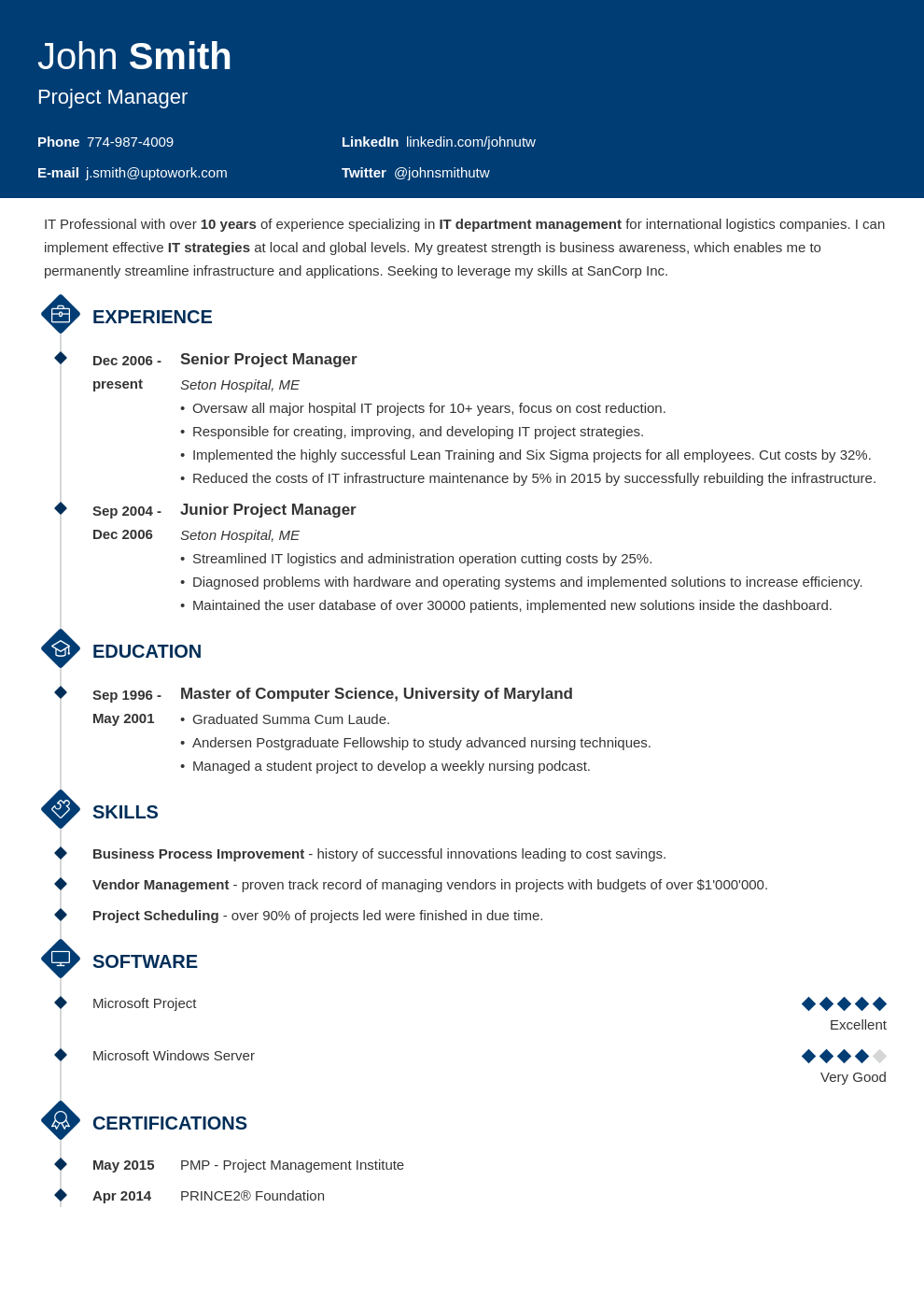 Resume Template Diamond