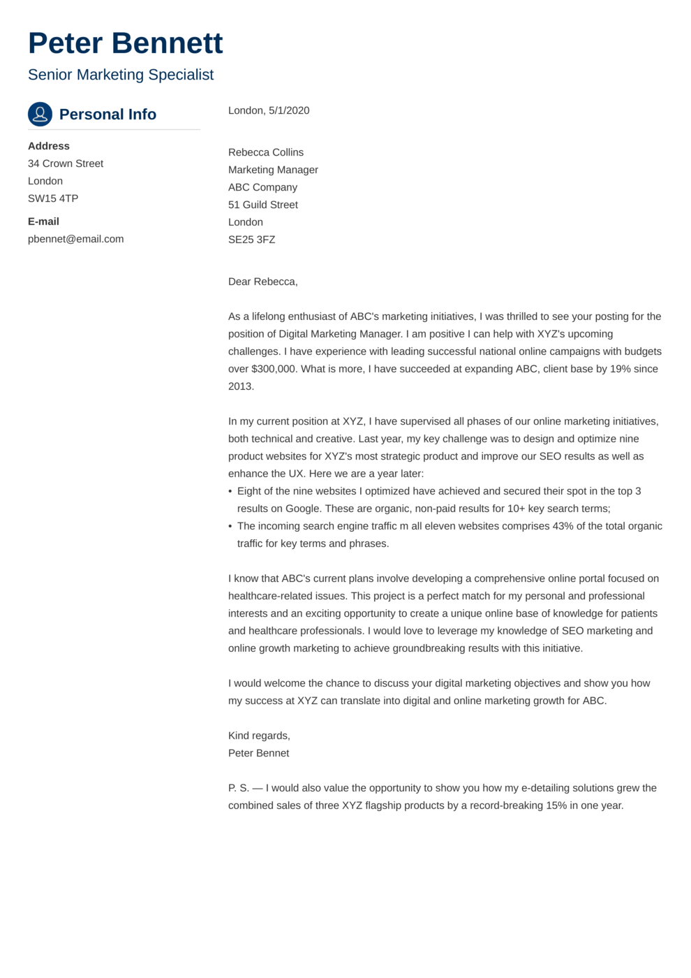 Cover Letter Example: Crisp Example