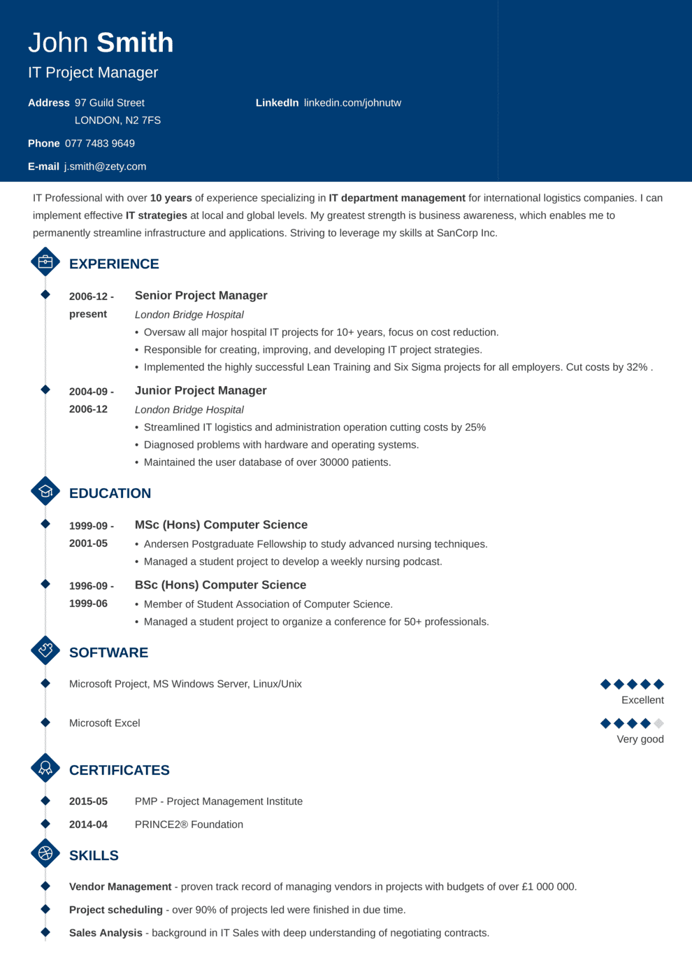 CV Template Diamond