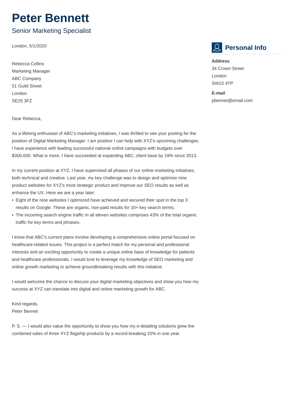 Cover Letter Example made with resumelab builder