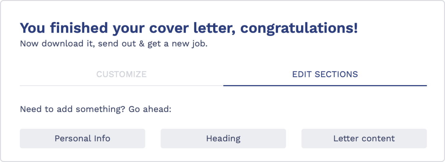 Cover Letter Builder Step 5: Customize