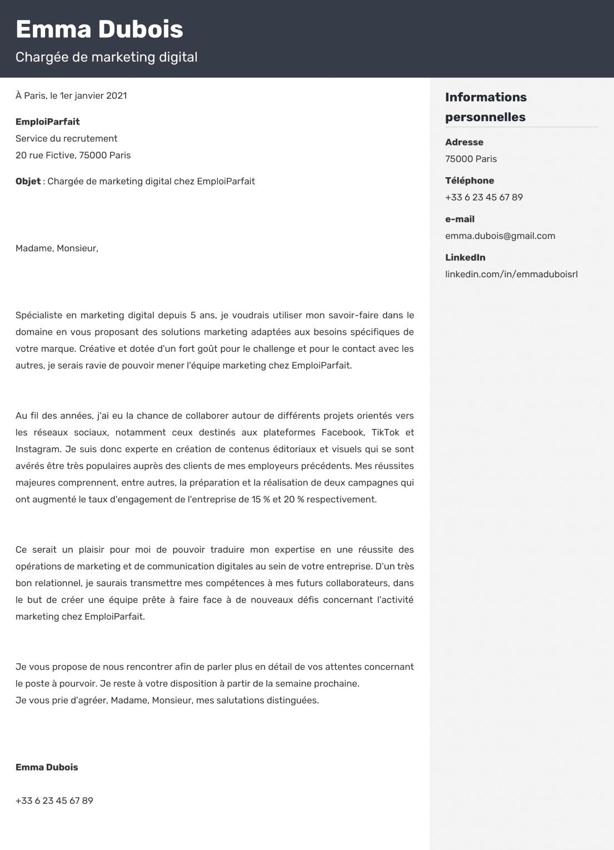 Exemple de lettre de motivation créé en ligne sur ResumeLab