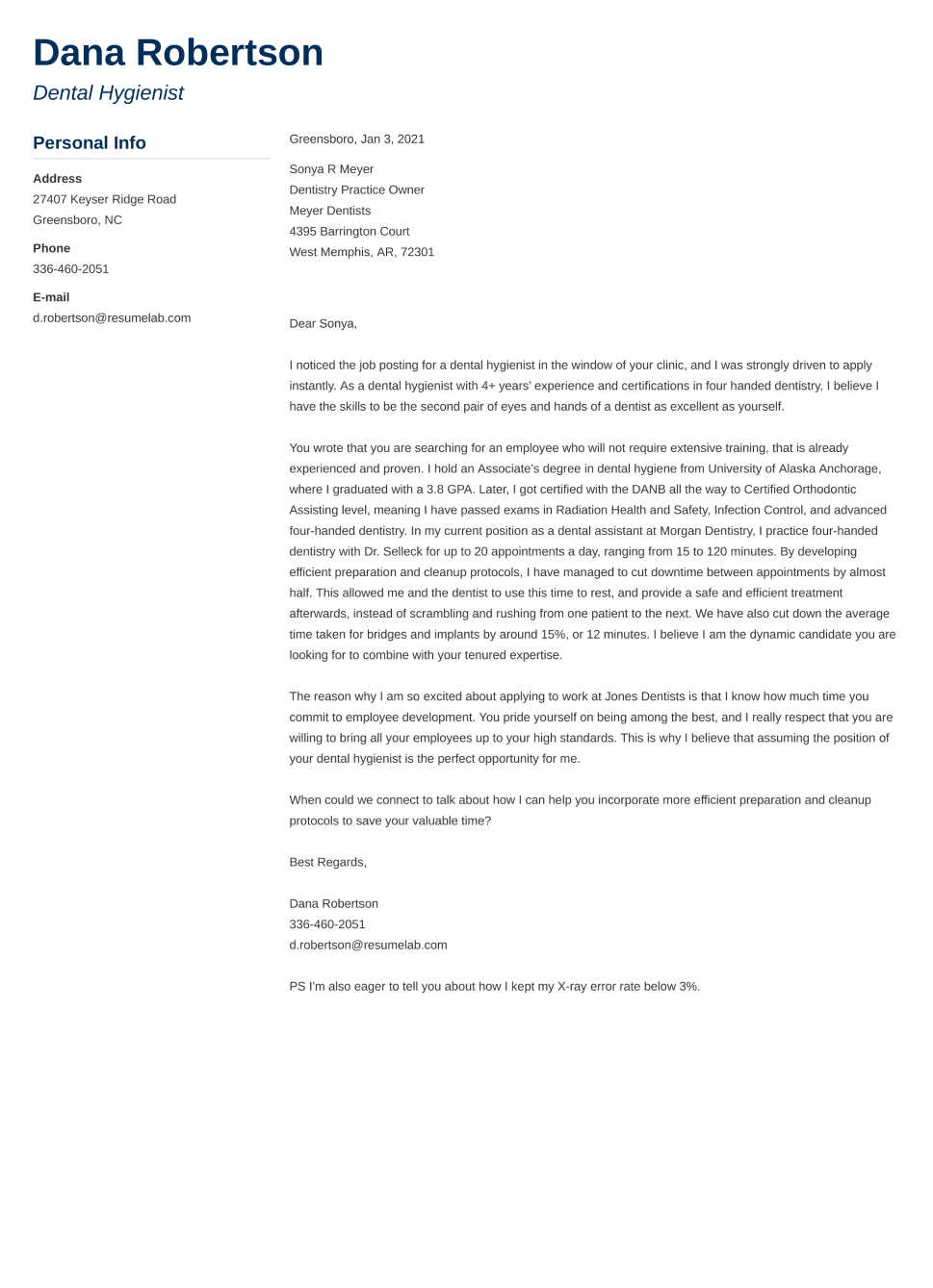 Good Cover Letter Example
